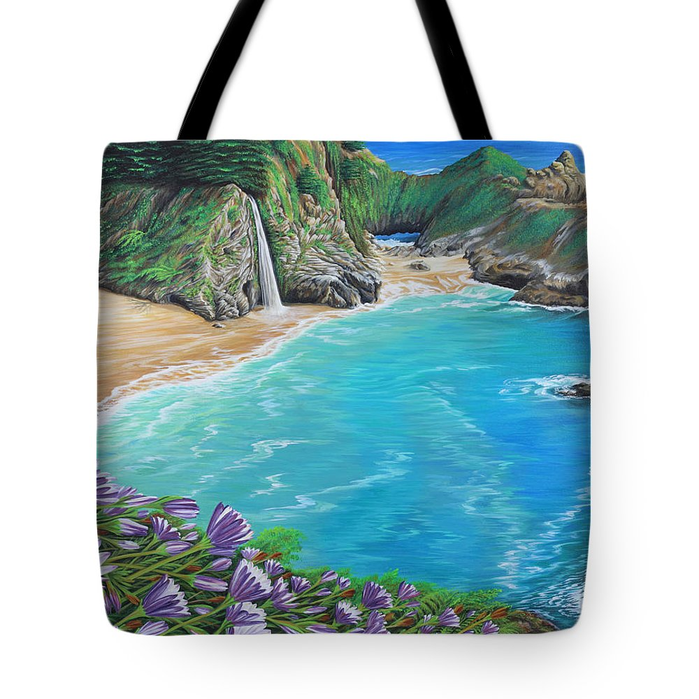 Beach Tote Bag featuring the painting Mcway Falls by Jane Girardot