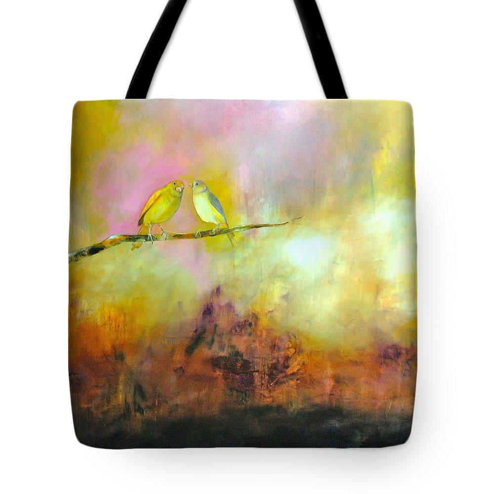 Birds Tote Bag featuring the painting Me Lo Dijo Un Pajarito by Thelma Zambrano