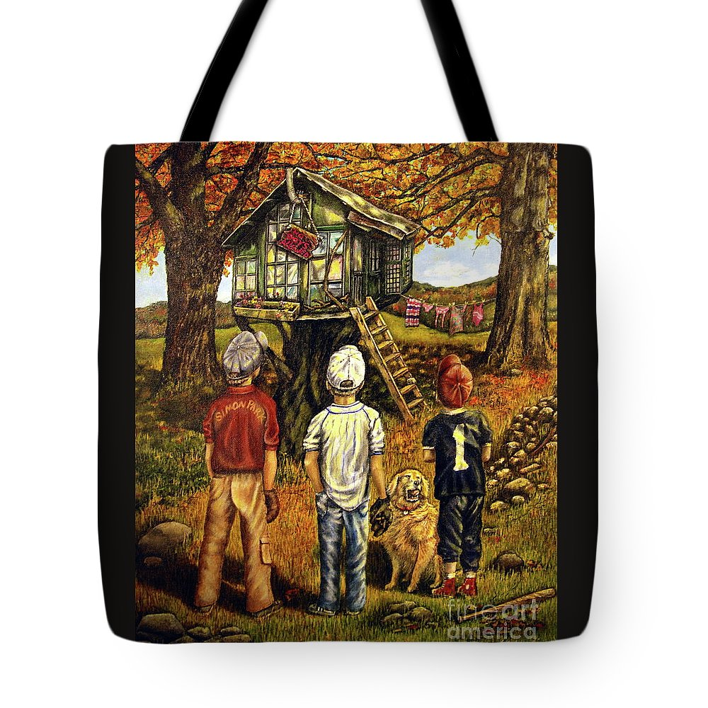 Trees Tote Bag featuring the painting Meadow Haven by Linda Simon