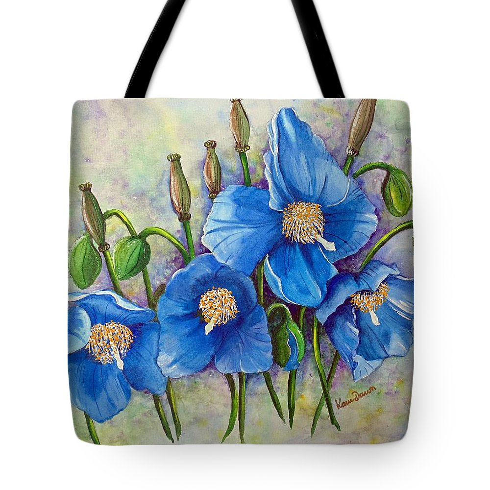 Blue Hymalayan Poppy Tote Bag featuring the painting Meconopsis  Himalayan Blue Poppy by Karin Dawn Kelshall- Best