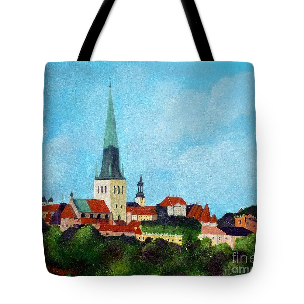 Tallinn Tote Bag featuring the painting Medieval Tallinn by Laurie Morgan