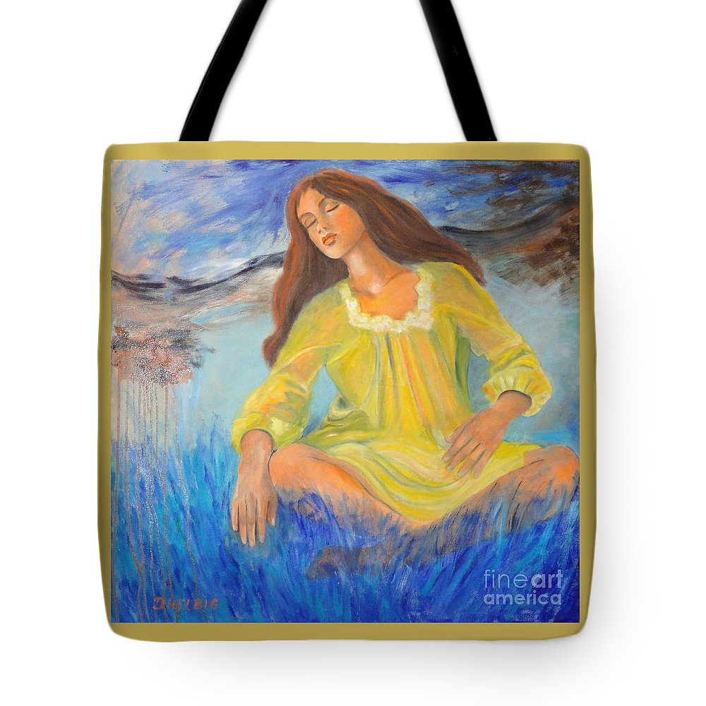 Girl-in-meditation Tote Bag featuring the painting Meditation by Dagmar Helbig