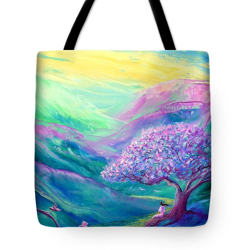 Meditation Tote Bag featuring the painting Meditation in Mauve by Jane Small