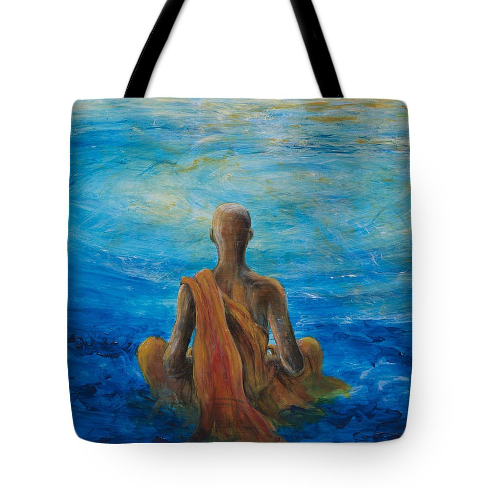 Monk Tote Bag featuring the painting Meditation by Nik Helbig