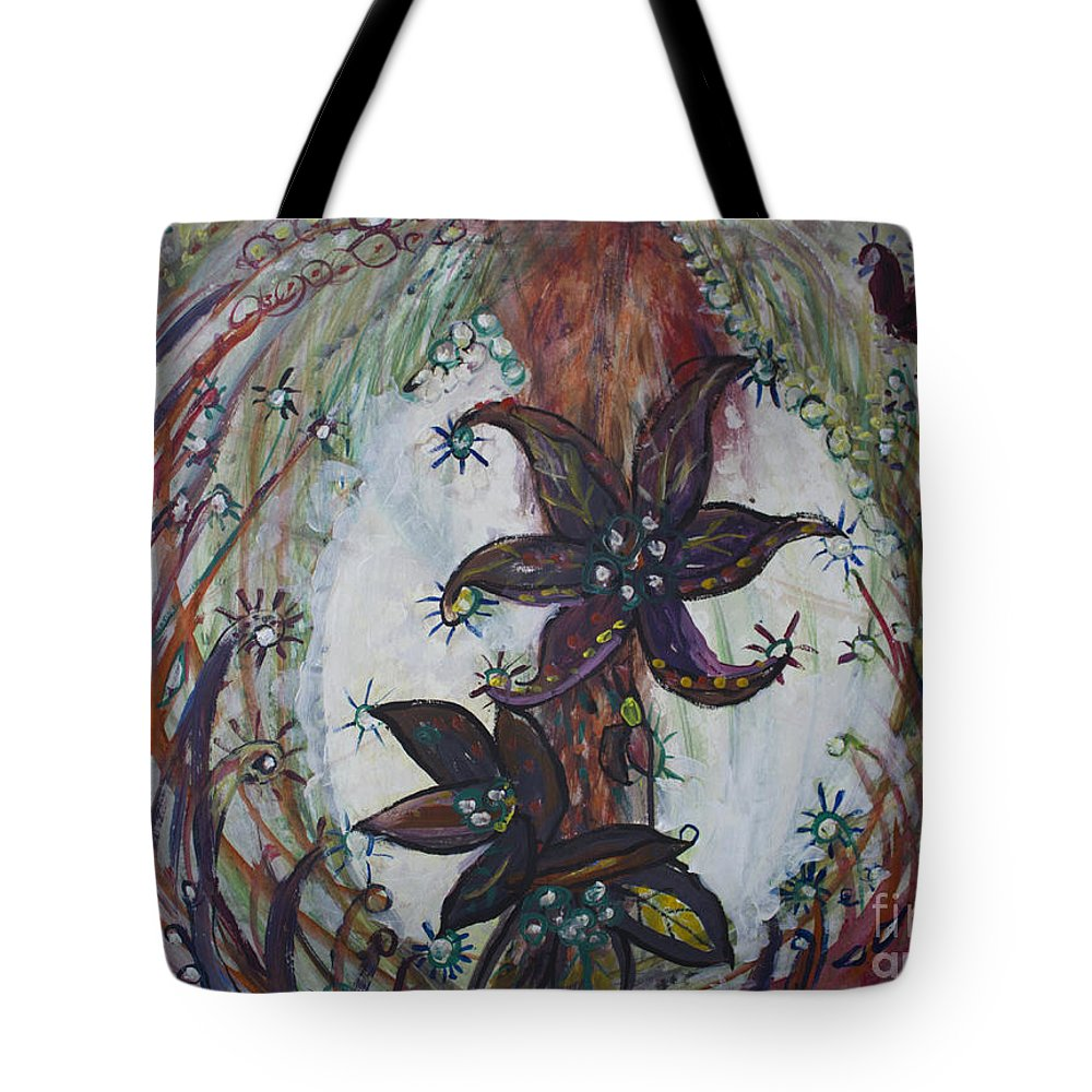 Surreal Tote Bag featuring the painting Meditations Of A Beautiful Mind by Avonelle Kelsey