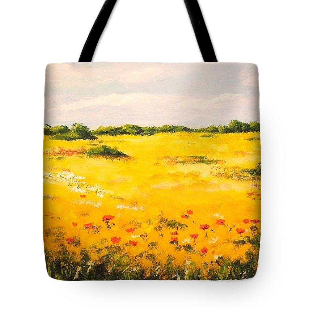 Landscape Tote Bag featuring the painting Mediterranean Landscape by Voros Edit