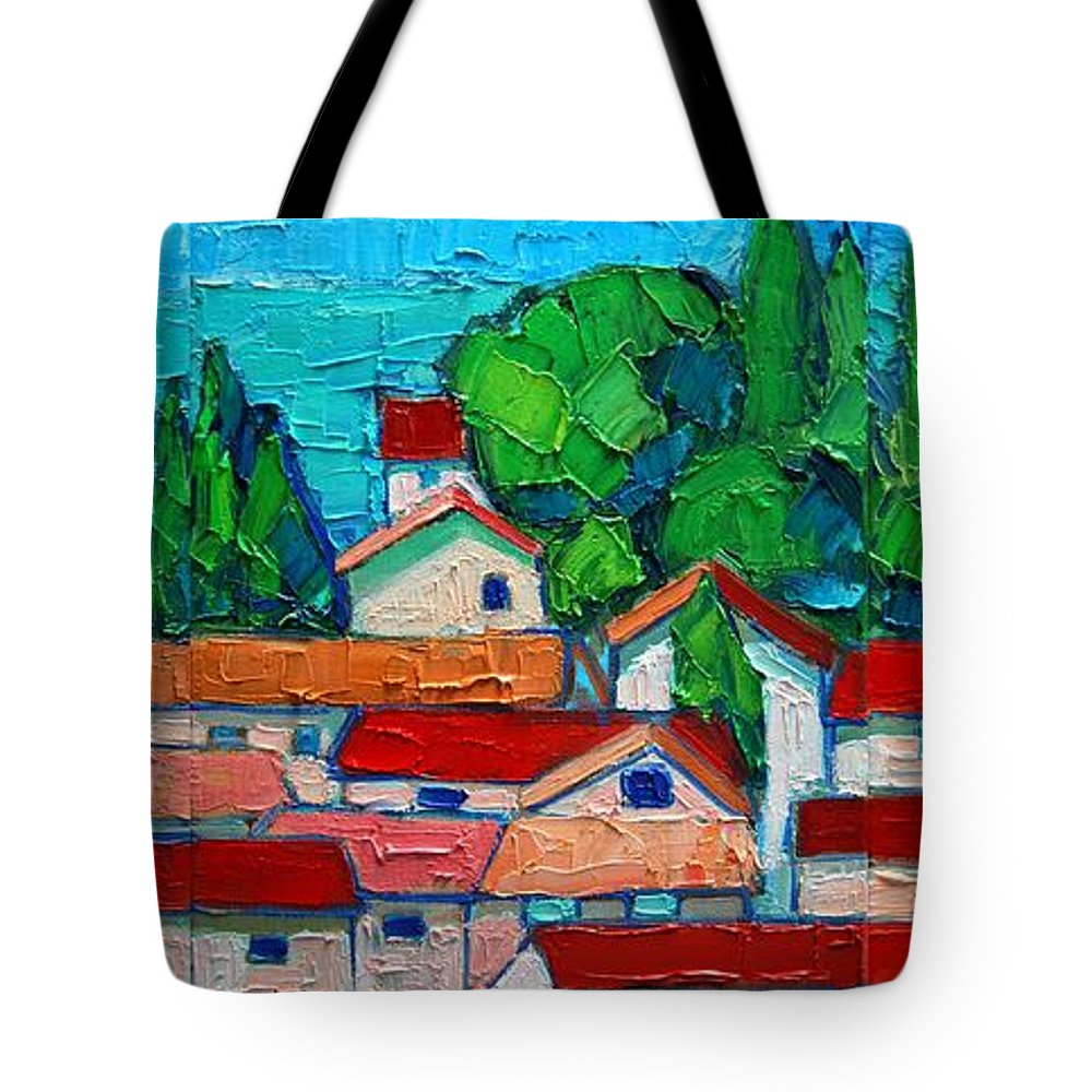 Sveti Tote Bag featuring the painting Mediterranean Roofs 1 2 3 by Ana Maria Edulescu