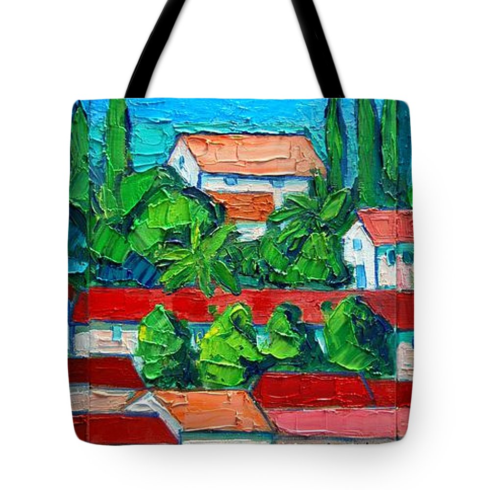 Sveti Tote Bag featuring the painting Mediterranean Roofs 2 3 4 by Ana Maria Edulescu