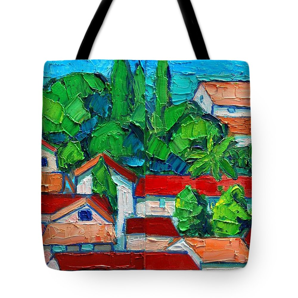 Sveti Tote Bag featuring the painting Mediterranean Roofs 2 3 by Ana Maria Edulescu