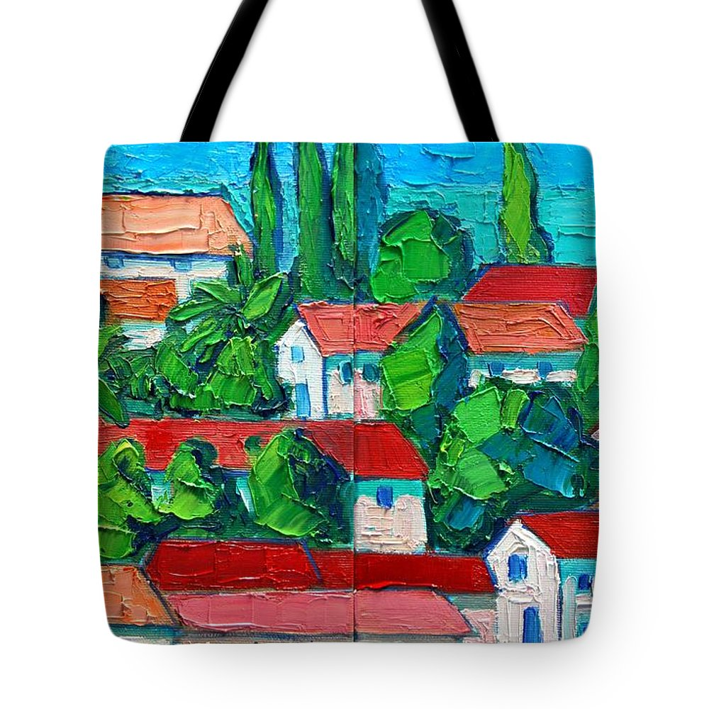 Sveti Tote Bag featuring the painting Mediterranean Roofs 3 4 by Ana Maria Edulescu