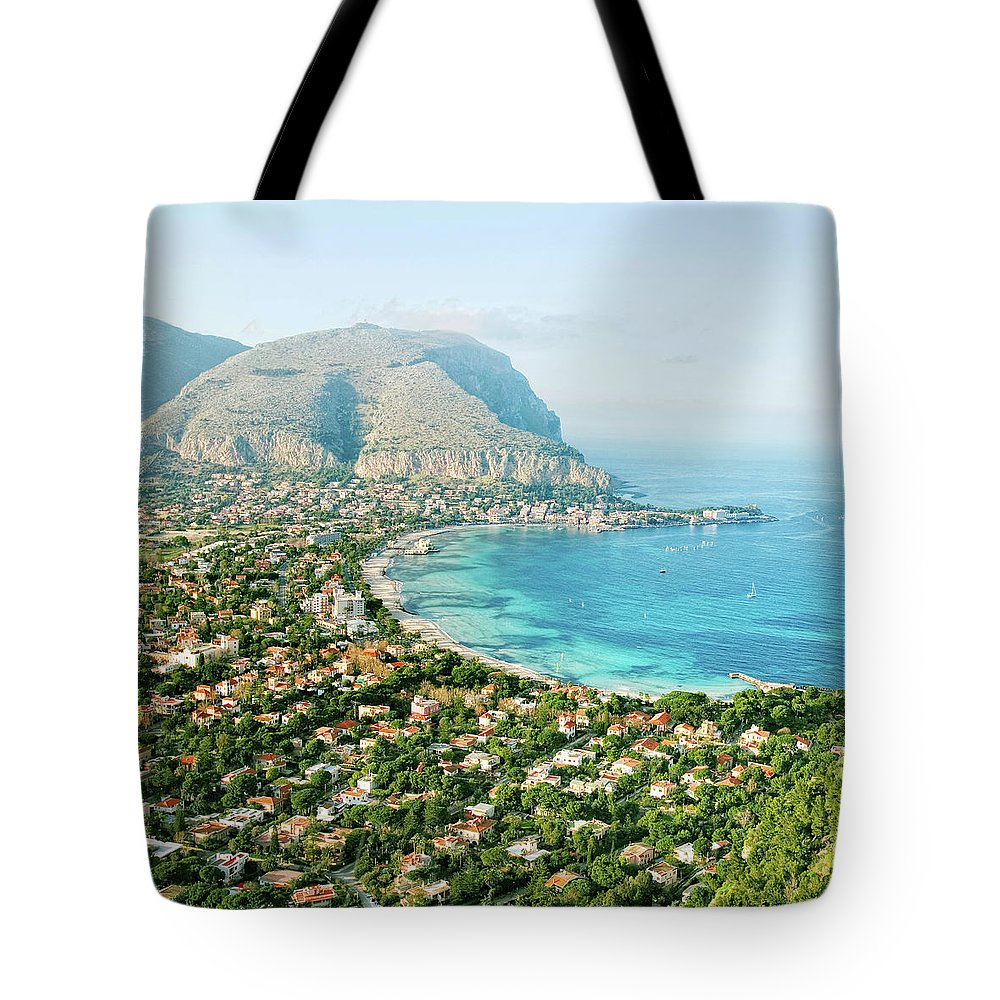 Sicily Tote Bag featuring the photograph Mediterranean View by Peeterv