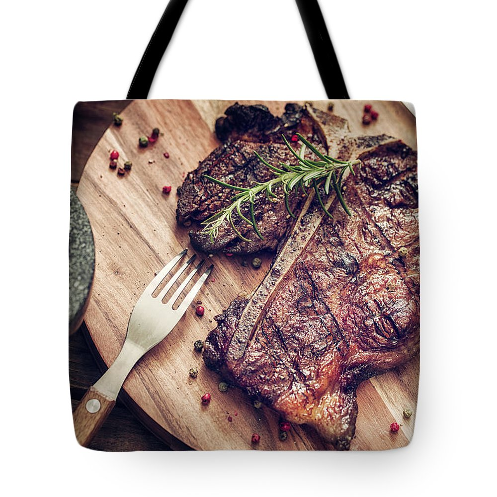 Rosemary Tote Bag featuring the photograph Medium Roasted T-bone Steak by Gmvozd