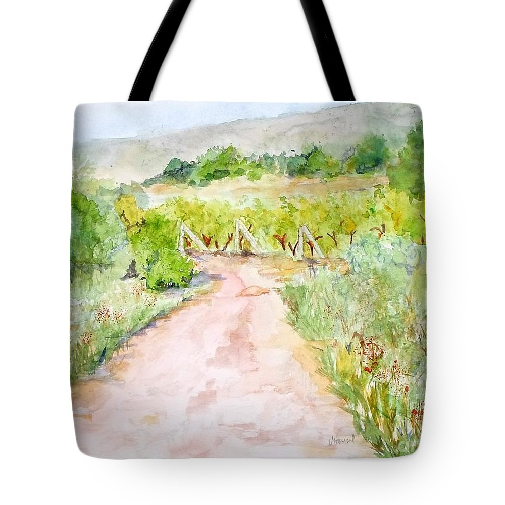 Path Tote Bag featuring the painting Medjugorje Path To Apparition Hill by Vicki Housel