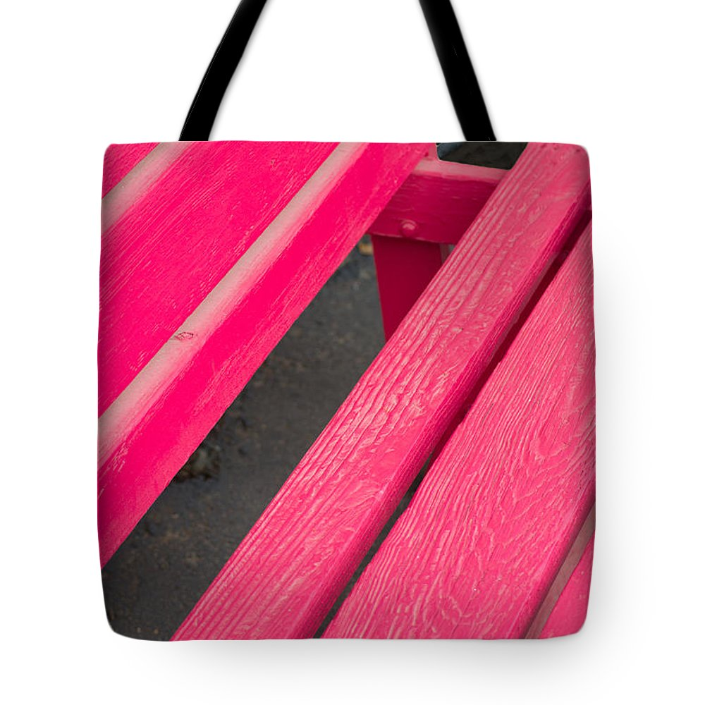 Wimberley Tote Bag featuring the photograph Wimberley Texas Market Red Bench by JG Thompson