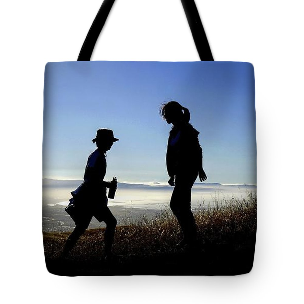 Sierra Vista Open Space Preserve Tote Bag featuring the photograph Meet At The Top Of The World by Peter Thoeny