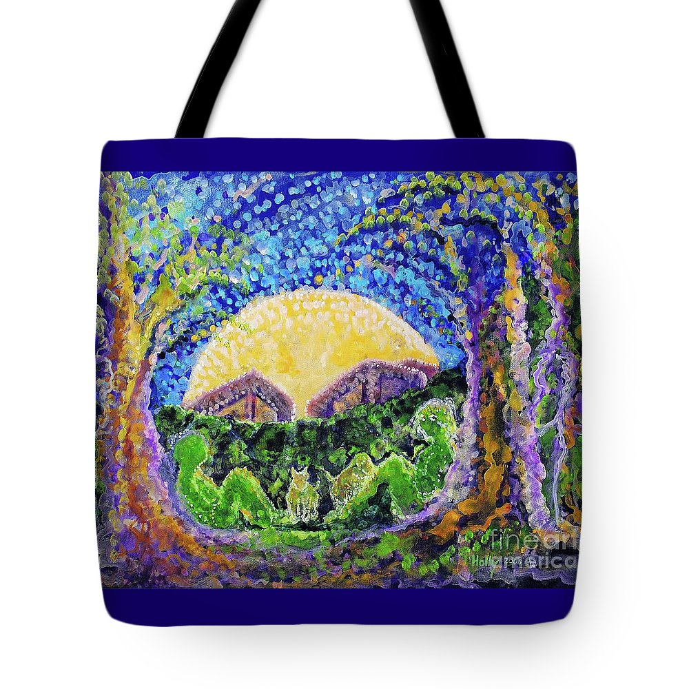 Moon Tote Bag featuring the painting Meet Me by Holly Carmichael