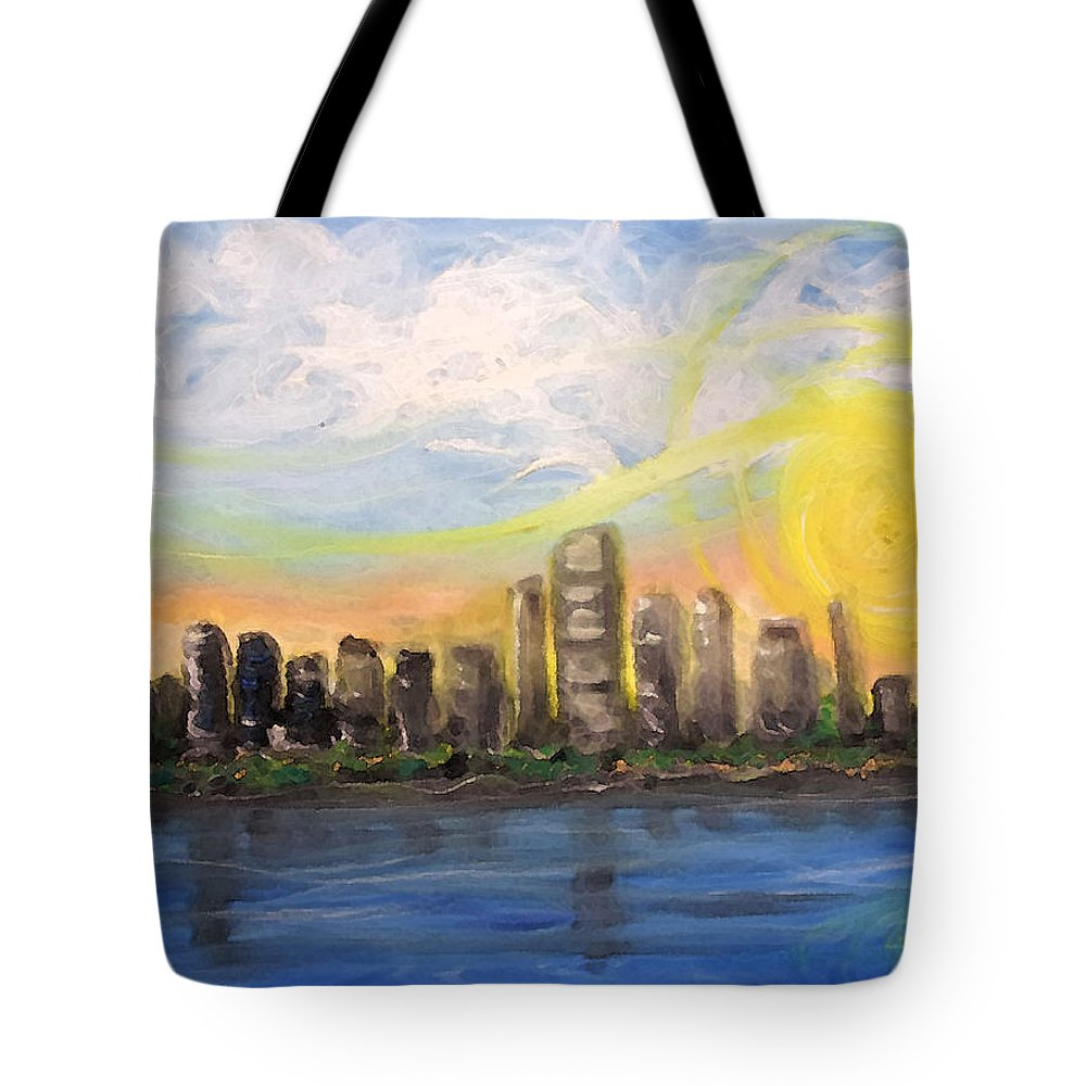 Miami Tote Bag featuring the painting Melisa's Sunrise by Jorge Delara
