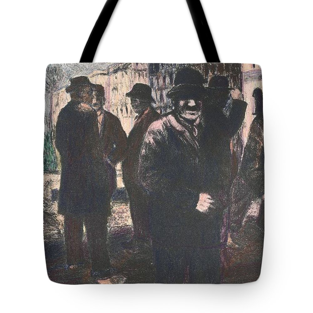 Men Tote Bag featuring the drawing Men In Yellow Light by Kendall Kessler