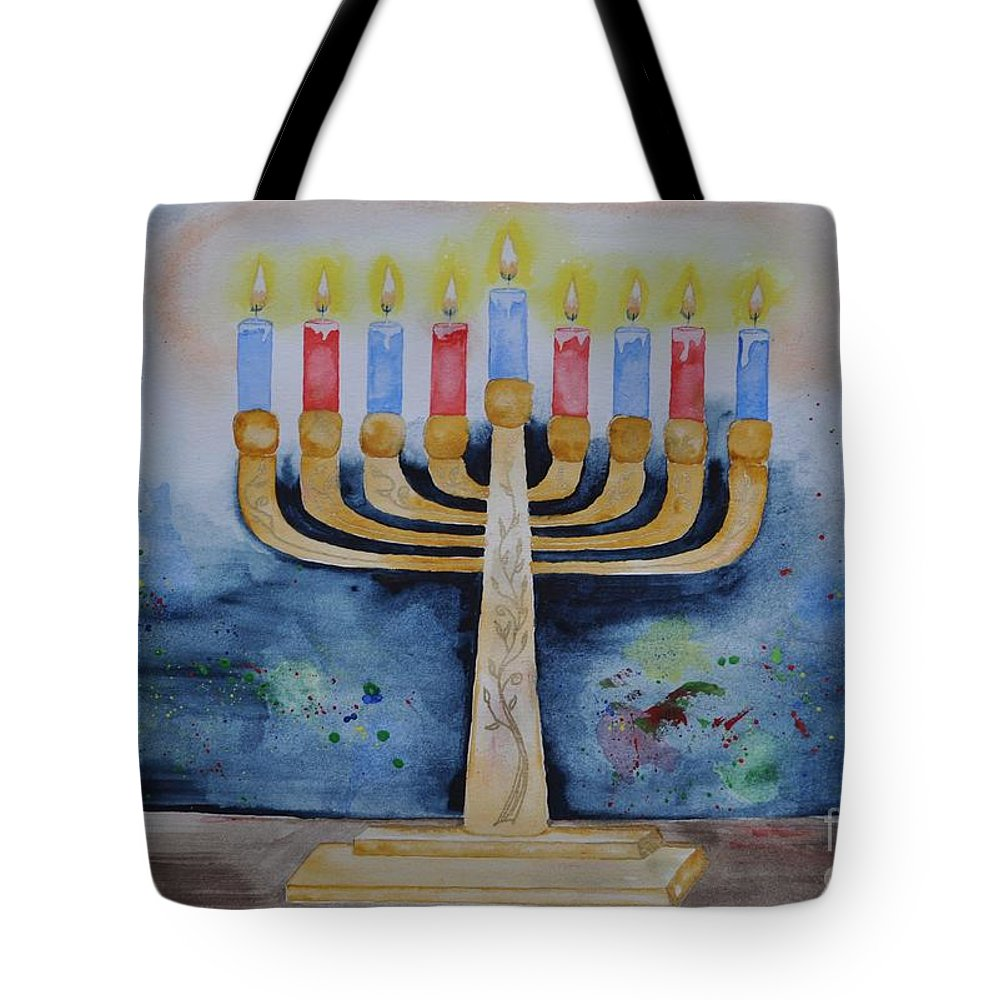 Menorah Tote Bag featuring the painting Menorah by Sally Rice
