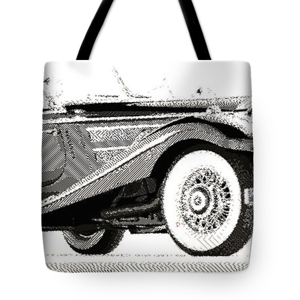 Oldtimer Tote Bag featuring the drawing Mercedes 540k - Parallel Hatching by Samuel Majcen
