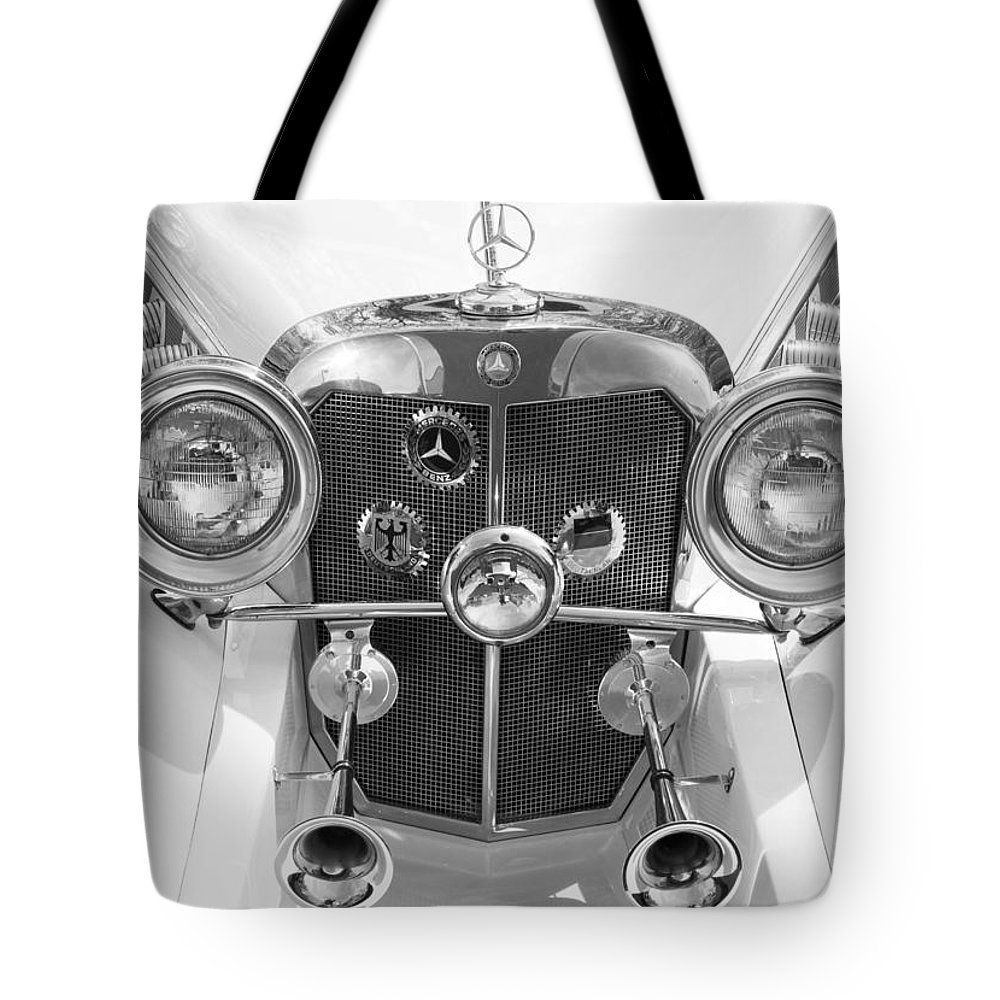 Mercedes Tote Bag featuring the photograph Mercedes Benz - Bw by Paul W Faust - Impressions of Light