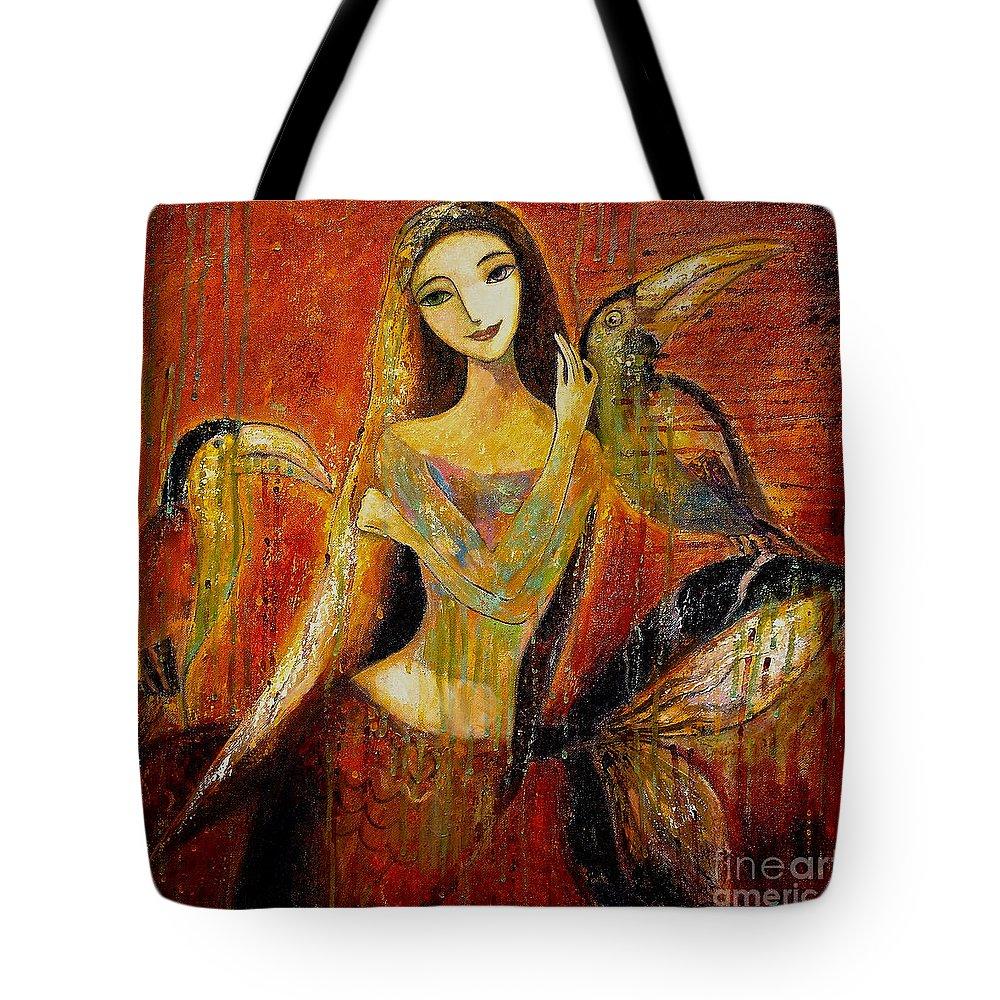 Mermaid Art Tote Bag featuring the painting Mermaid Bride by Shijun Munns