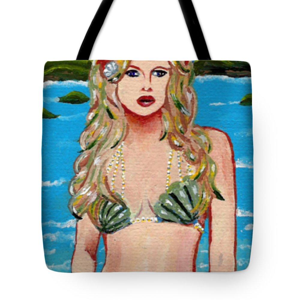 Mermaid Tote Bag featuring the painting Mermaid in Pearls by Bronwen Skye