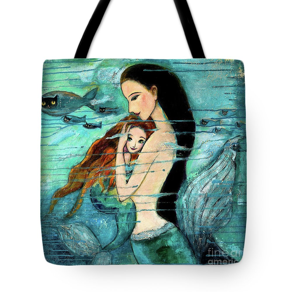 Mermaid Art Tote Bag featuring the painting Mermaid Mother And Child by Shijun Munns