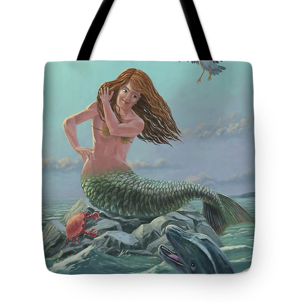 Mermaid Tote Bag featuring the painting Mermaid On Rock by Martin Davey