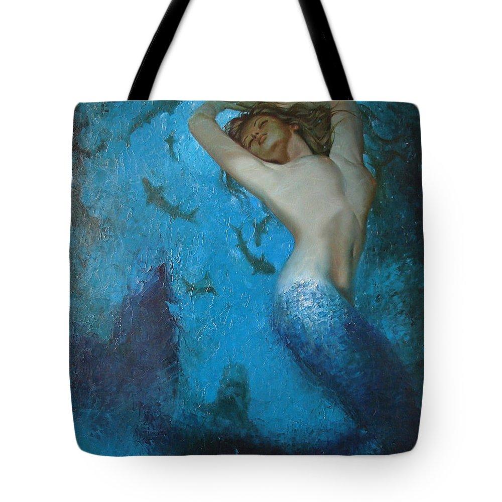 Ignatenko Tote Bag featuring the painting Mermaid by Sergey Ignatenko