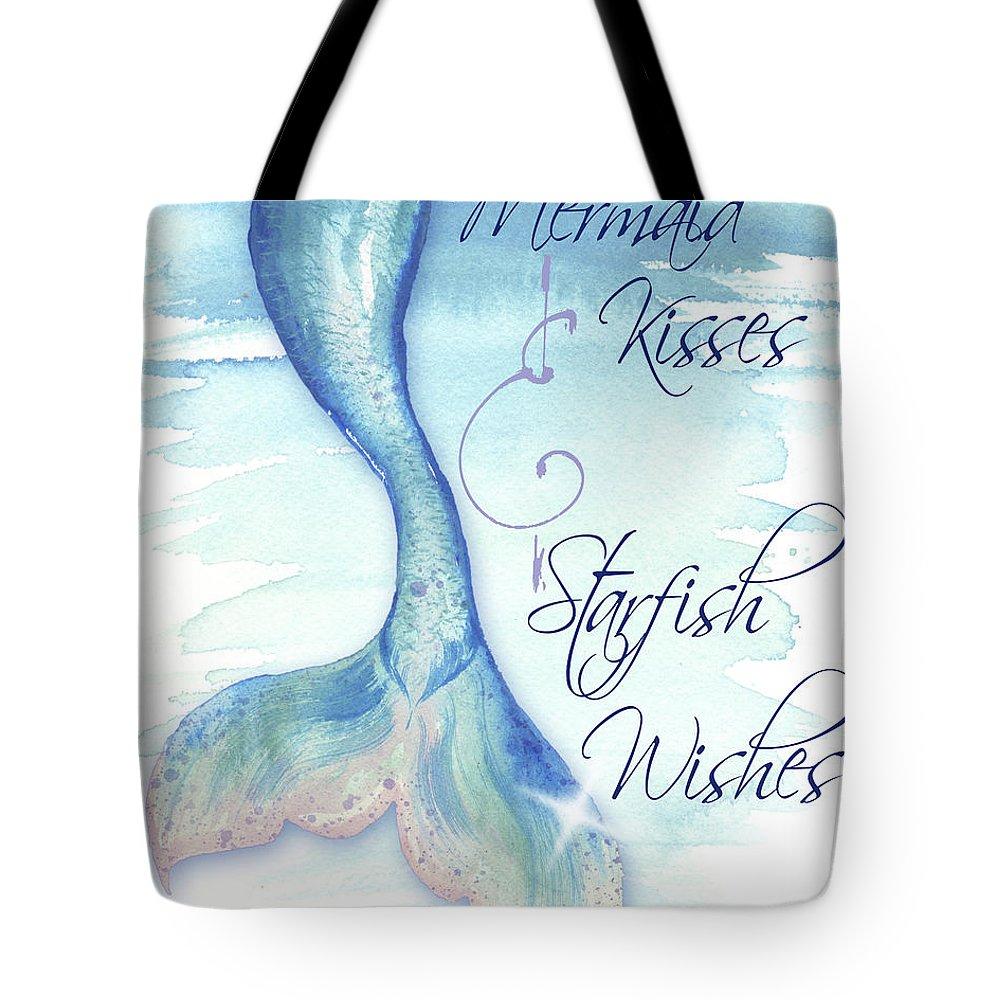 Teal mermaid tote bag