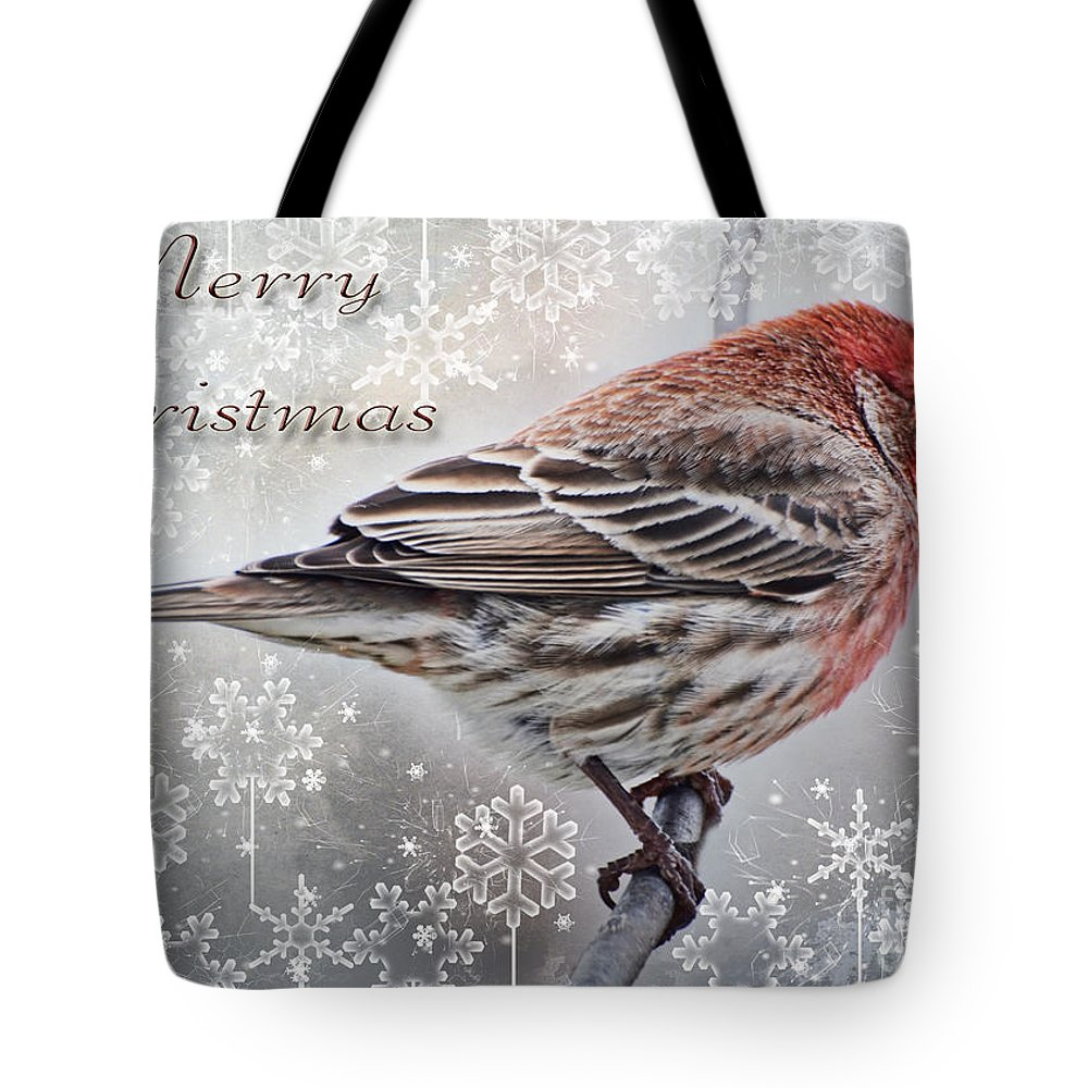 Nature Tote Bag featuring the photograph Merry Christman Finch Greeting Card by Debbie Portwood