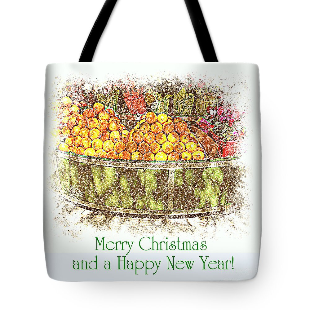 Fruitstand Tote Bag featuring the photograph Merry Christmas And A Happy New Year - Fruit And Flowers In The Snow - Holiday And Christmas Card by Miriam Danar