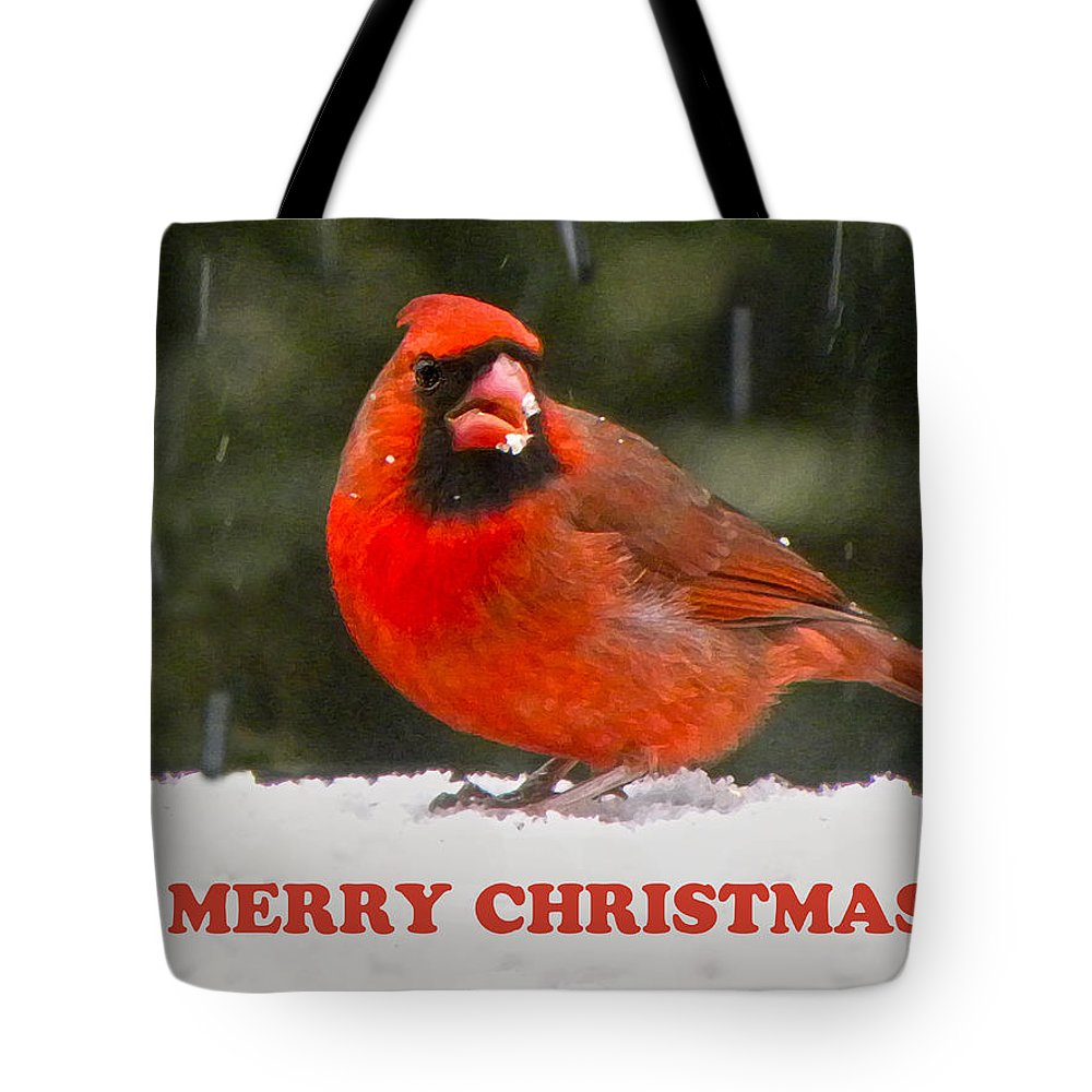 Northern Cardinal Tote Bag featuring the photograph Merry Christmas Cardinal by Sandi OReilly