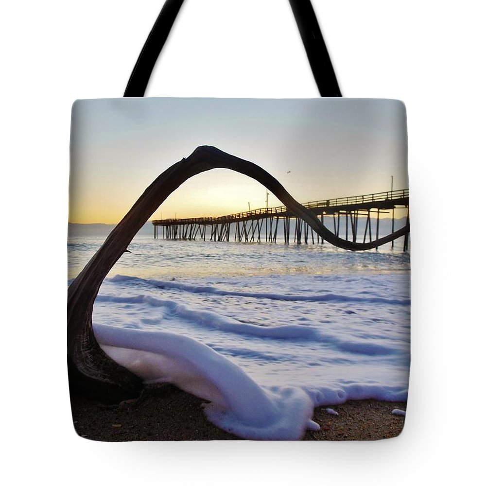 Mark Lemmon Cape Hatteras Nc The Outer Banks Photographer Subjects From Sunrise Tote Bag featuring the photograph Merry Christmas Charlie Brown Tree 1 12/17 by Mark Lemmon