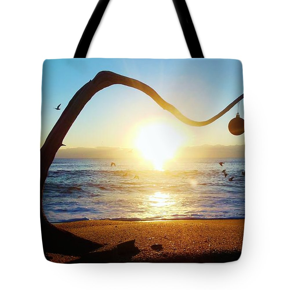 Mark Lemmon Cape Hatteras Nc The Outer Banks Photographer Subjects From Sunrise Tote Bag featuring the photograph Merry Christmas Charlie Brown Tree 9 12/17 by Mark Lemmon