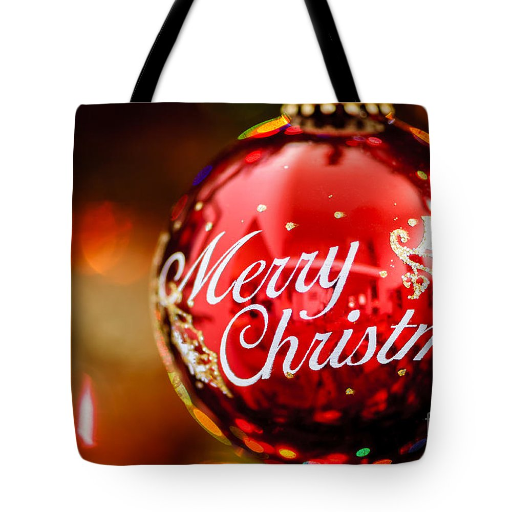 Christmas Tote Bag featuring the photograph Merry Christmas Ornament by Oscar Gutierrez