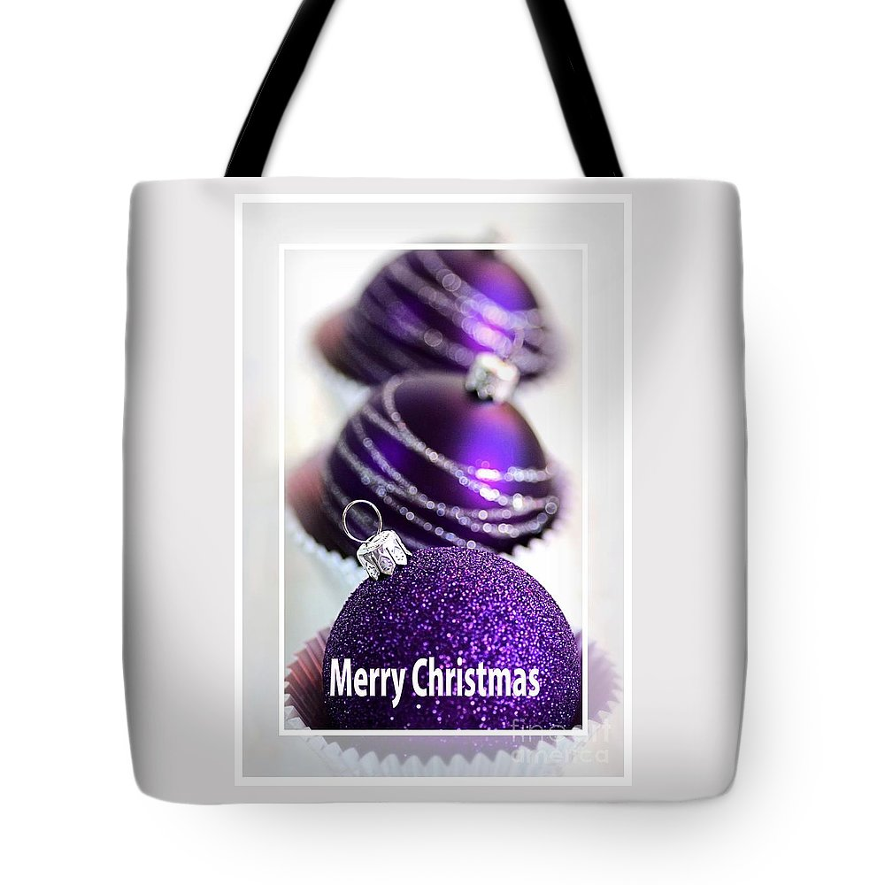 Purple Baubles Tote Bag featuring the photograph Merry Christmas Purple Baubles by Joy Watson
