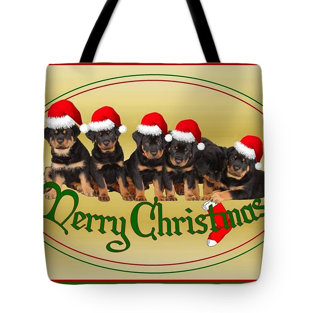 Merry Christmas Rottweiler Puppies Greeting Card Tote Bag for Sale ...