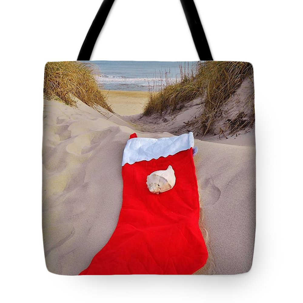 Mark Lemmon Cape Hatteras Nc The Outer Banks Photographer Subjects From Sunrise Tote Bag featuring the photograph Merry Christmas Stocking 2 12/23 by Mark Lemmon