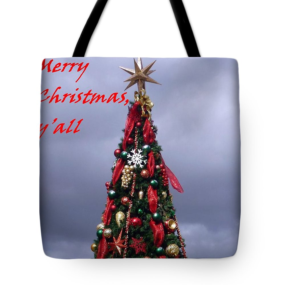 Merry Christmas Tote Bag featuring the photograph Merry Christmas Y'all by Barbie Corbett-Newmin