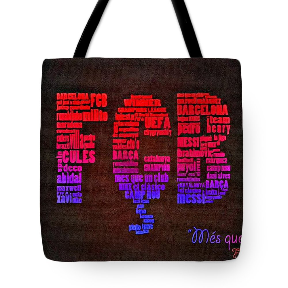 Barcelona Tote Bag featuring the painting Mes Que Un Club by Florian Rodarte