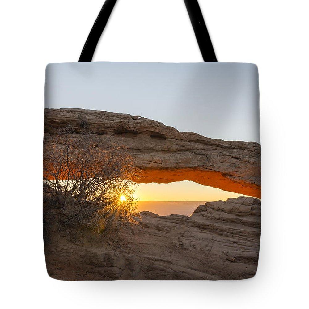 Mesa Arch Sunrise Canyonlands National Park Moab Utah Tote Bag featuring the photograph Mesa Arch Sunrise 3 - Canyonlands National Park - Moab Utah by Brian Harig