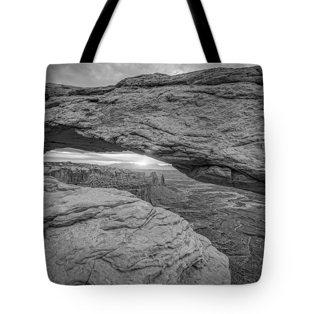 Michael Ver Sprill Tote Bag featuring the photograph Mesa Arch Sunrise Bw by Michael Ver Sprill