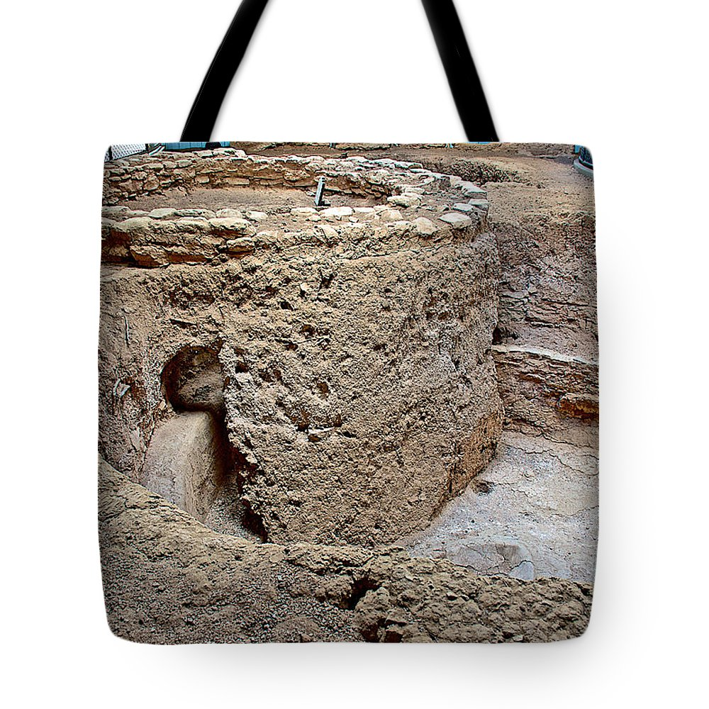 Mesa Top Pit House-900-1100 Ad On Chapin Mesa Top Loop Road In Mesa Verde National Park Tote Bag featuring the photograph Mesa Top Pit House-900-1100 Ad On Chapin Mesa Top Loop Road In Mesa Verde National Park-colorado by Ruth Hager
