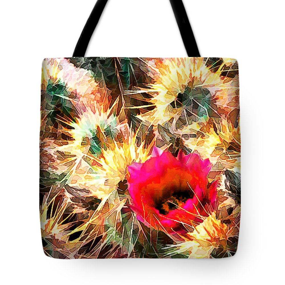 Cactus Tote Bag featuring the painting Mesh Of Cactus Needles by Elaine Plesser