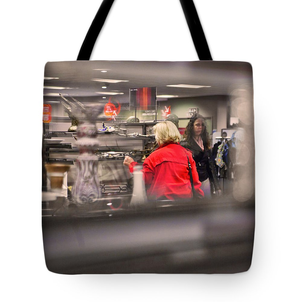 Red Tote Bag featuring the painting Message 1 by Alex Art and Photo