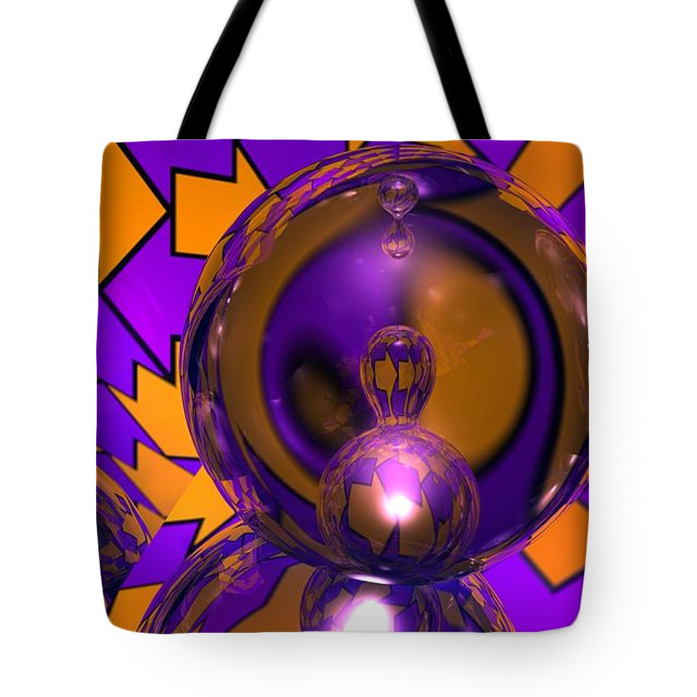 Abstract Tote Bag featuring the digital art Meta Arrows by James Kramer