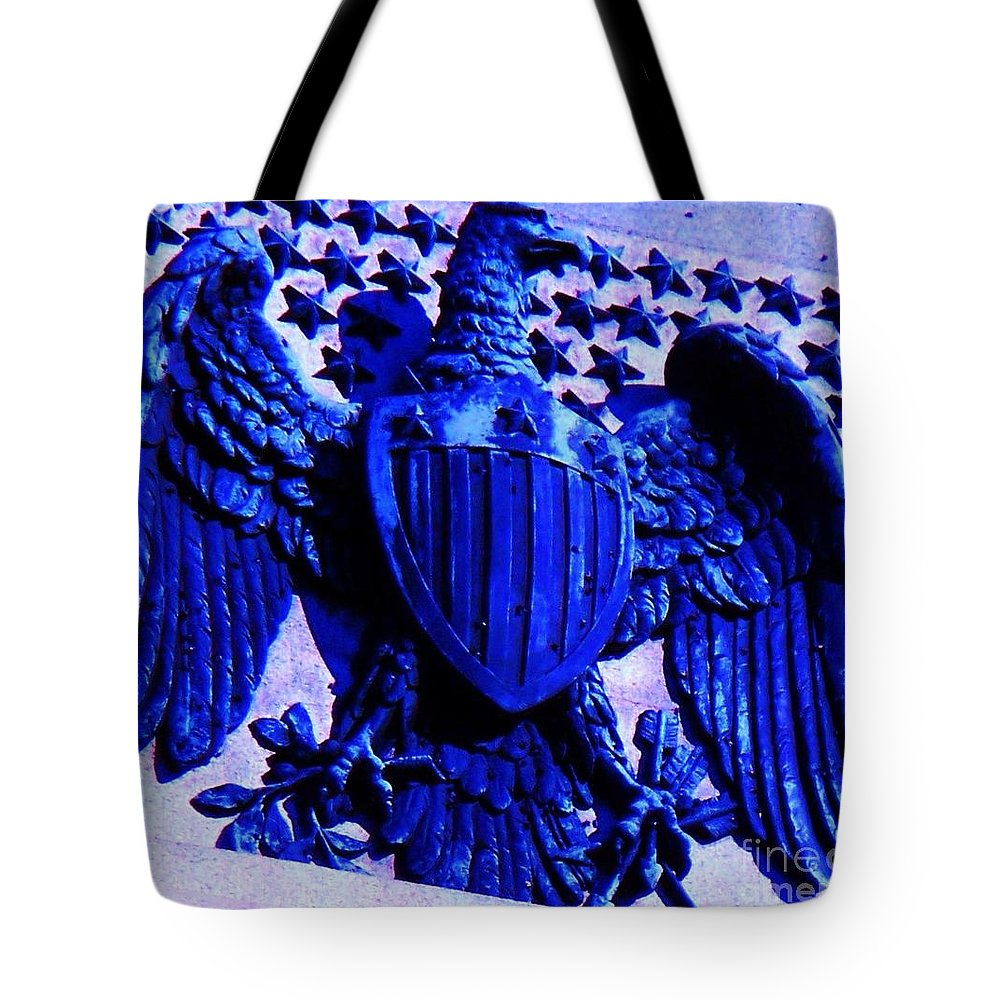 Eagle Tote Bag featuring the photograph Metal American Eagle Symbol by Eric Schiabor