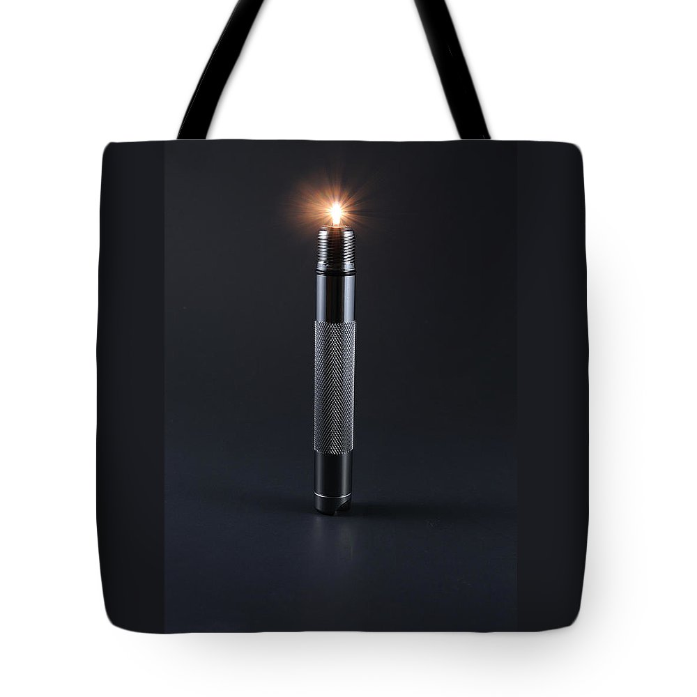 Candle Tote Bag featuring the photograph Metal Candle by Scott Angus